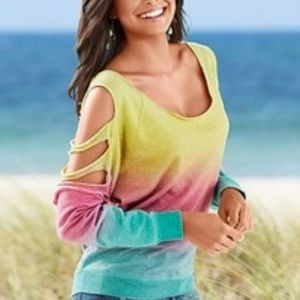 VENUS Cold Shoulder & Slits Multi-Color Sweatshirt